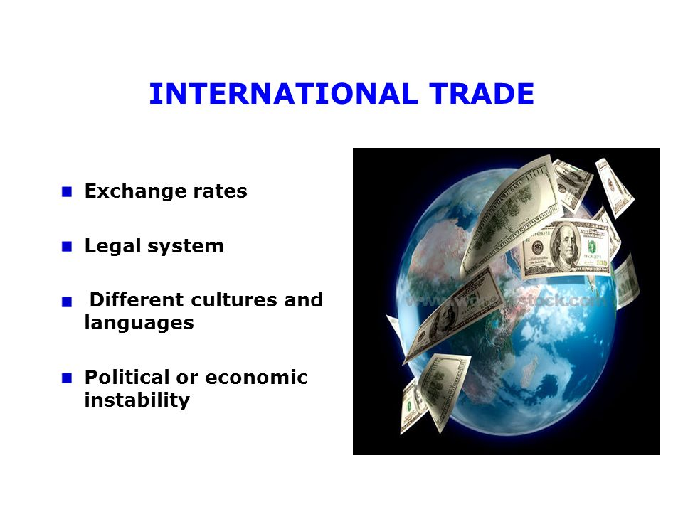 INTERNATIONAL TRADE Exchange rates Legal system