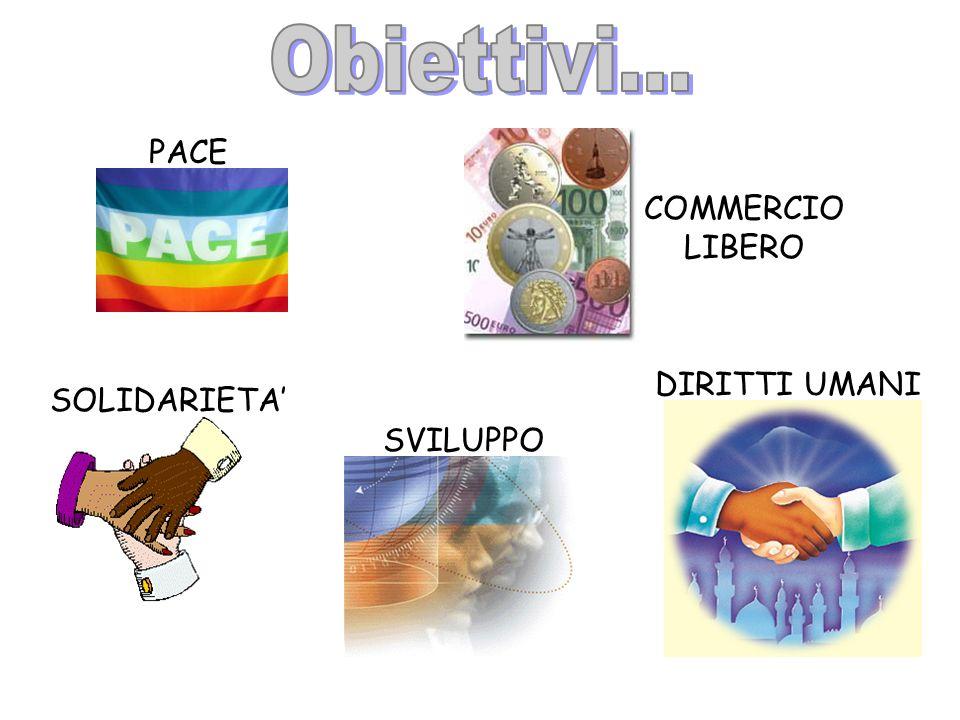 Obiettivi... PACE COMMERCIO LIBERO DIRITTI UMANI SOLIDARIETA' SVILUPPO