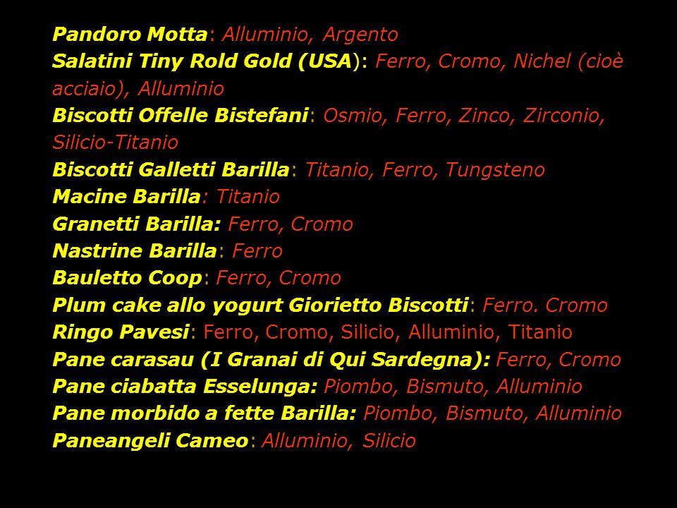 Pandoro Motta: Alluminio, Argento Salatini Tiny Rold Gold (USA): Ferro, Cromo, Nichel (cioè acciaio), Alluminio Biscotti Offelle Bistefani: Osmio, Ferro, Zinco, Zirconio, Silicio-Titanio Biscotti Galletti Barilla: Titanio, Ferro, Tungsteno Macine Barilla: Titanio Granetti Barilla: Ferro, Cromo Nastrine Barilla: Ferro Bauletto Coop: Ferro, Cromo Plum cake allo yogurt Giorietto Biscotti: Ferro.