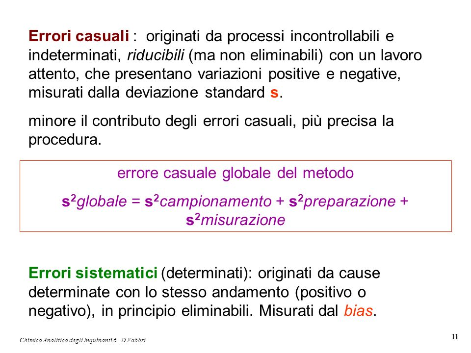minore il contributo degli errori casuali, più precisa la procedura.