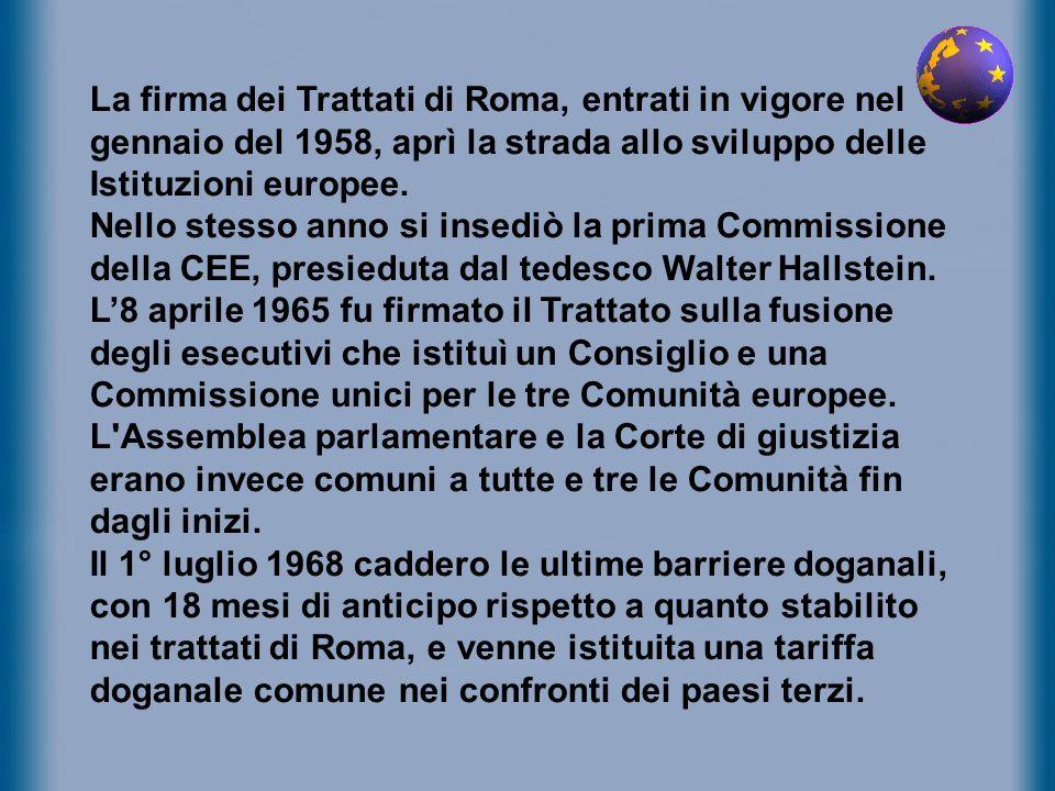 La firma dei Trattati di Roma, entrati in vigore nel gennaio del 1958, aprì la strada allo sviluppo delle Istituzioni europee.