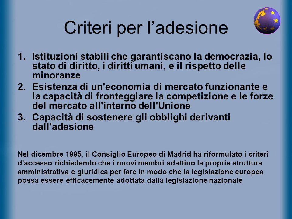 Criteri per l'adesione