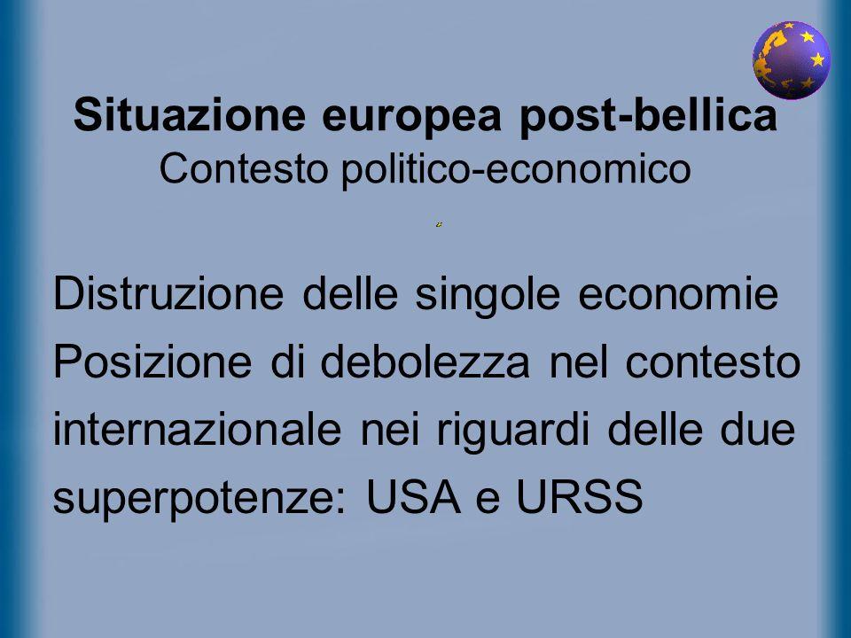 Situazione europea post-bellica Contesto politico-economico