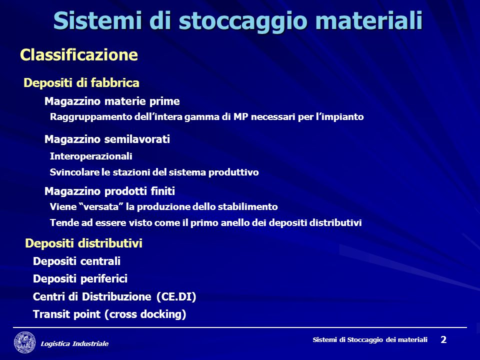 Sistemi di stoccaggio materiali