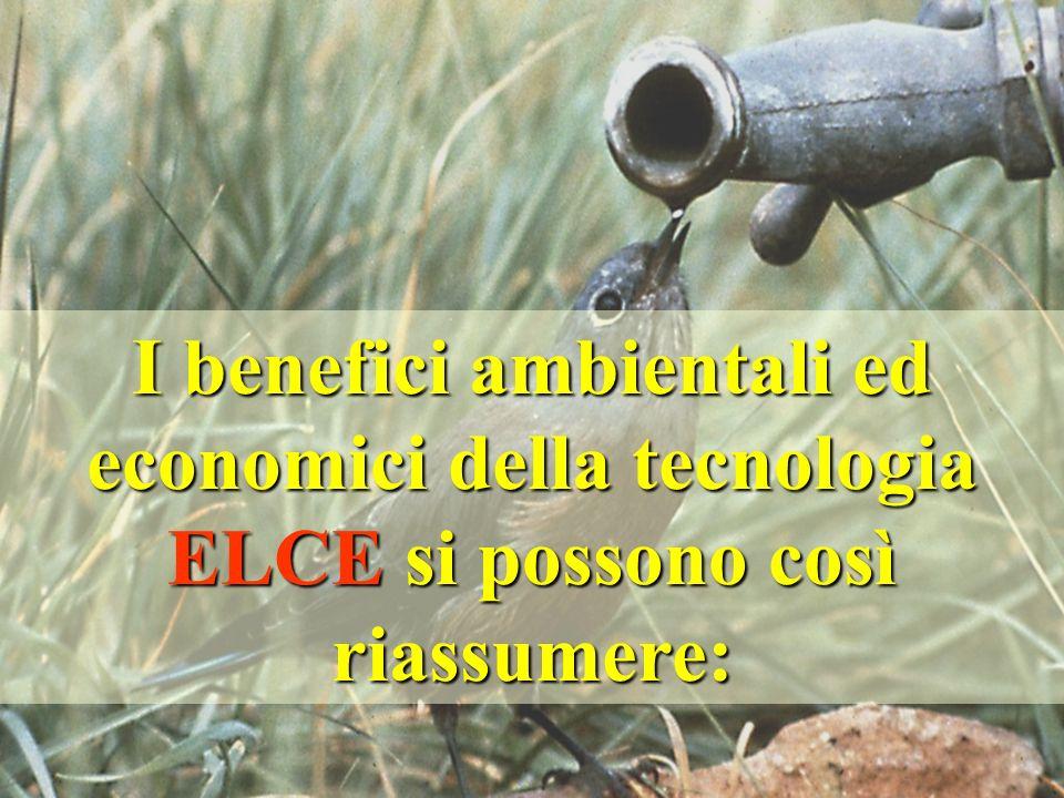 I benefici ambientali ed economici della tecnologia ELCE si possono così riassumere:
