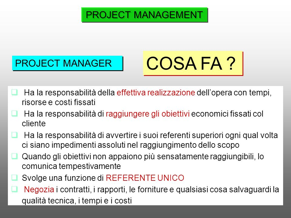 COSA FA PROJECT MANAGEMENT PROJECT MANAGER