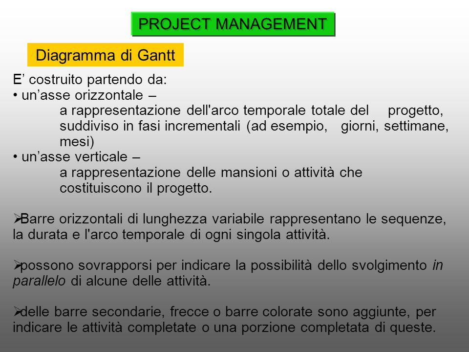 PROJECT MANAGEMENT Diagramma di Gantt E' costruito partendo da:
