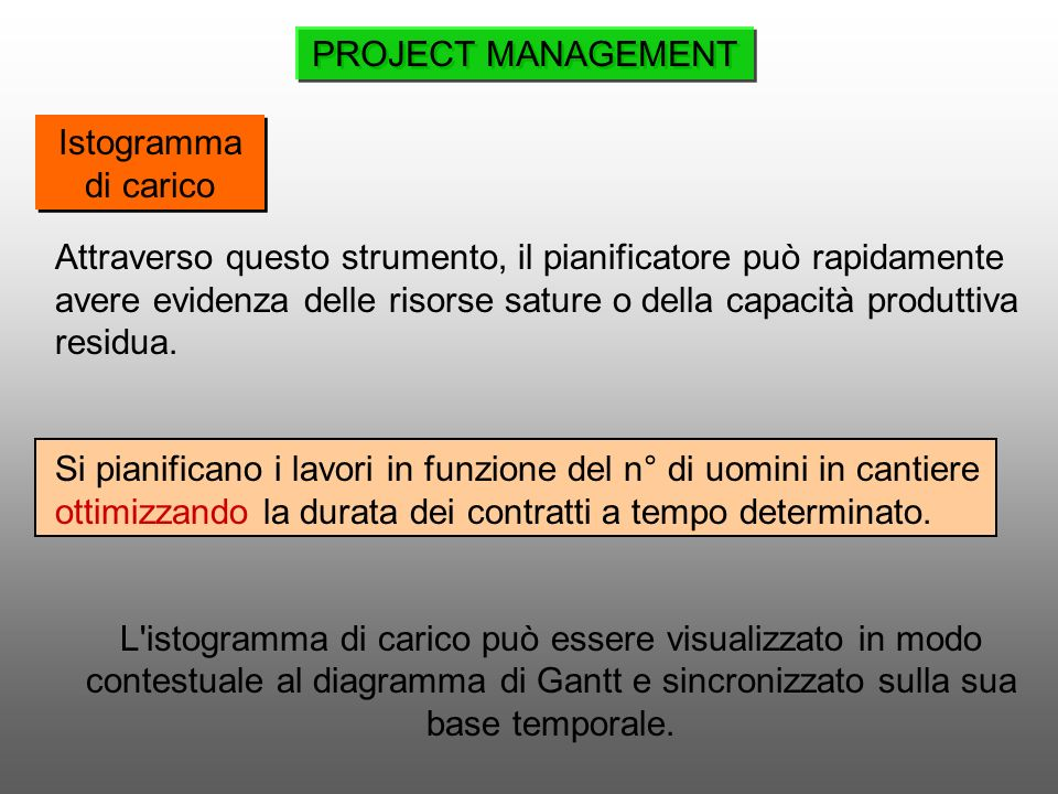 PROJECT MANAGEMENT Istogramma di carico.
