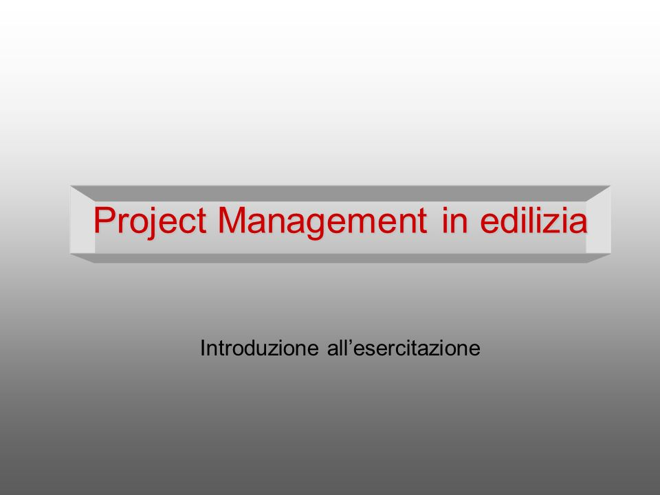 Project Management in edilizia
