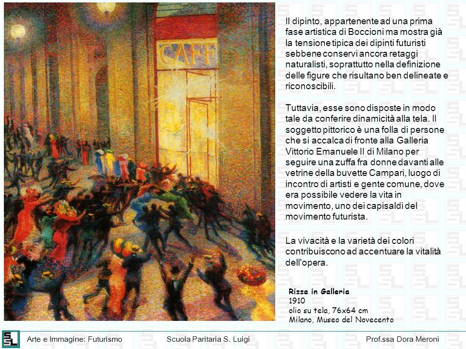 Il dipinto, appartenente ad una prima fase artistica di Boccioni ma mostra già la tensione tipica dei dipinti futuristi sebbene conservi ancora retaggi naturalisti, soprattutto nella definizione delle figure che risultano ben delineate e riconoscibili.