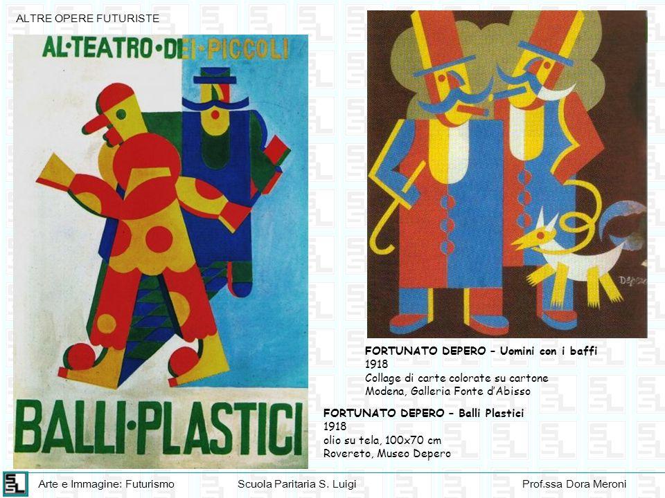 ALTRE OPERE FUTURISTE FORTUNATO DEPERO – Uomini con i baffi. 1918. Collage di carte colorate su cartone.