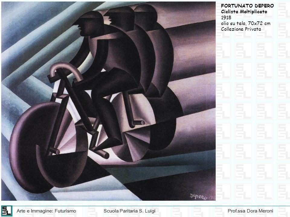 FORTUNATO DEPERO Ciclista Moltiplicato 1918 olio su tela, 70x72 cm Collezione Privata