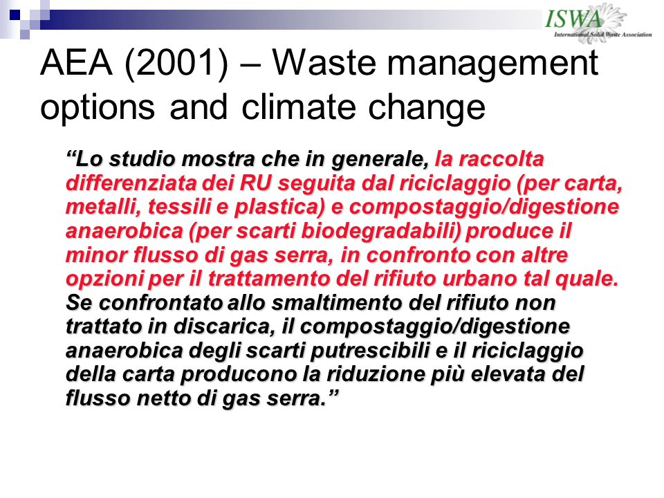 AEA (2001) – Waste management options and climate change