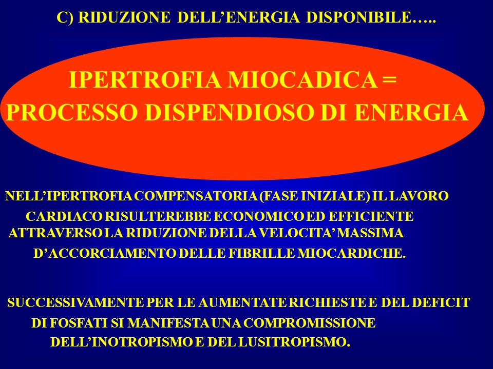 IPERTROFIA MIOCADICA = PROCESSO DISPENDIOSO DI ENERGIA