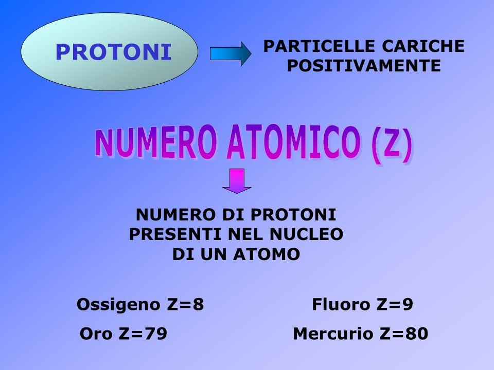 NUMERO ATOMICO (Z) PROTONI PARTICELLE CARICHE POSITIVAMENTE