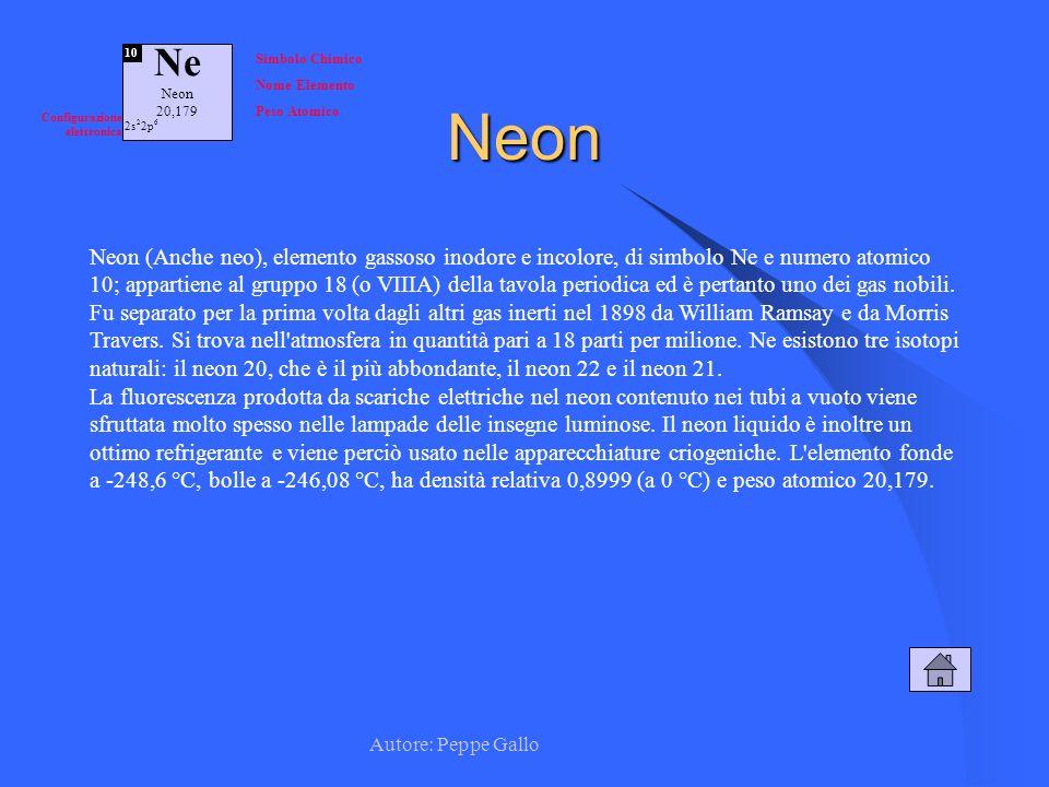 Ne Neon. 20,179. 10. Simbolo Chimico. Nome Elemento. Peso Atomico. Configurazione elettronica.