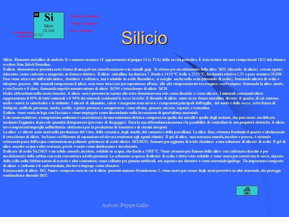Silicio Si Autore: Peppe Gallo Simbolo Chimico Nome Elemento Silicio