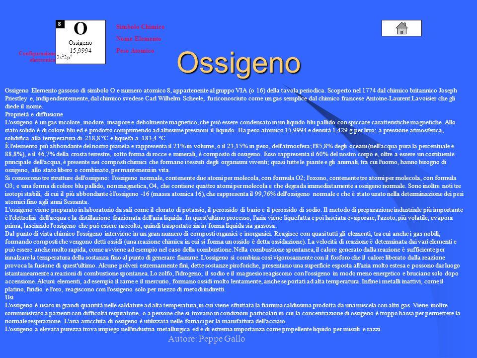 Ossigeno O Autore: Peppe Gallo Simbolo Chimico Nome Elemento Ossigeno