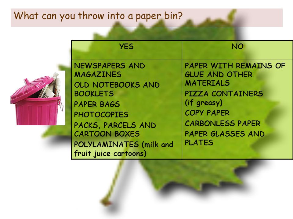 What can you throw into a paper bin