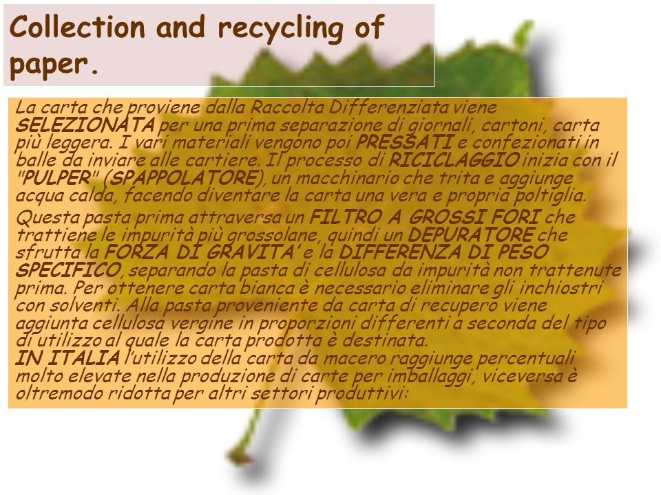 Collection and recycling of paper.