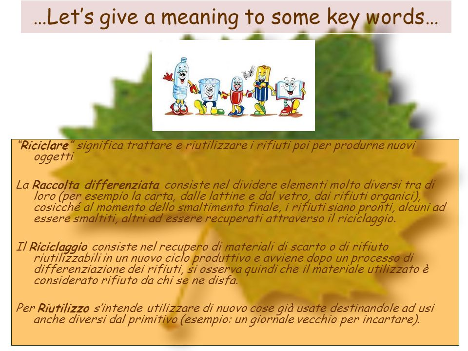 …Let's give a meaning to some key words…