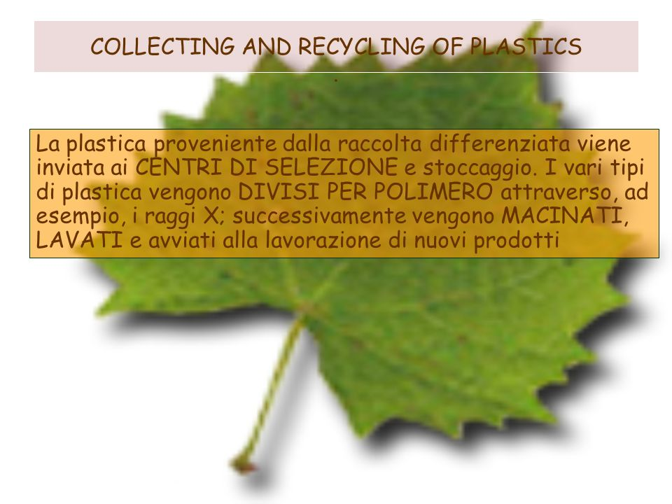 COLLECTING AND RECYCLING OF PLASTICS .