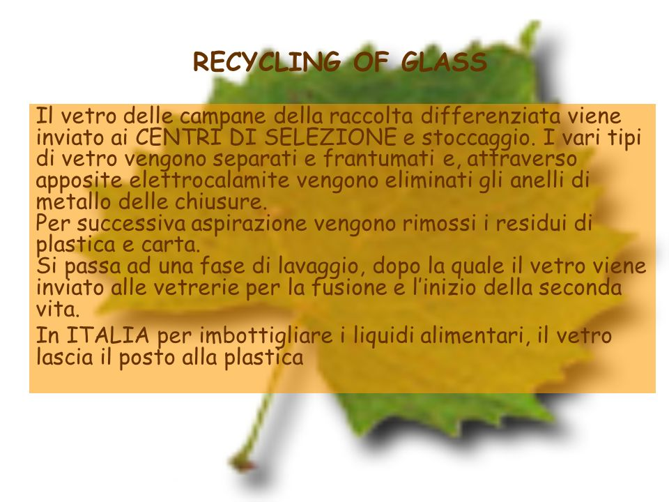 RECYCLING OF GLASS