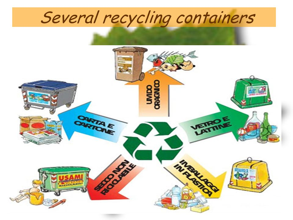 Several recycling containers