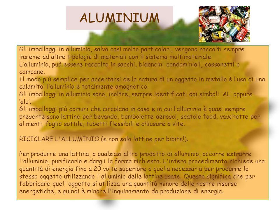 ALUMINIUMGli imballaggi in alluminio, salvo casi molto particolari, vengono raccolti sempre.