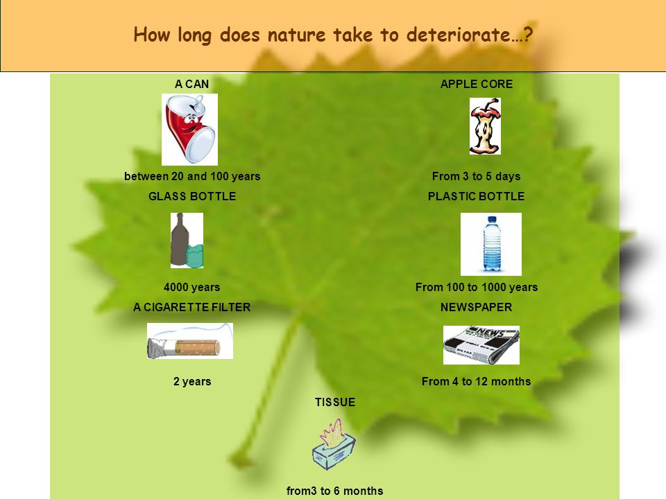 How long does nature take to deteriorate…