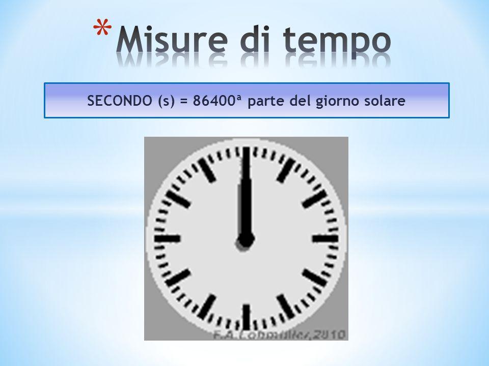 SECONDO (s) = 86400ª parte del giorno solare