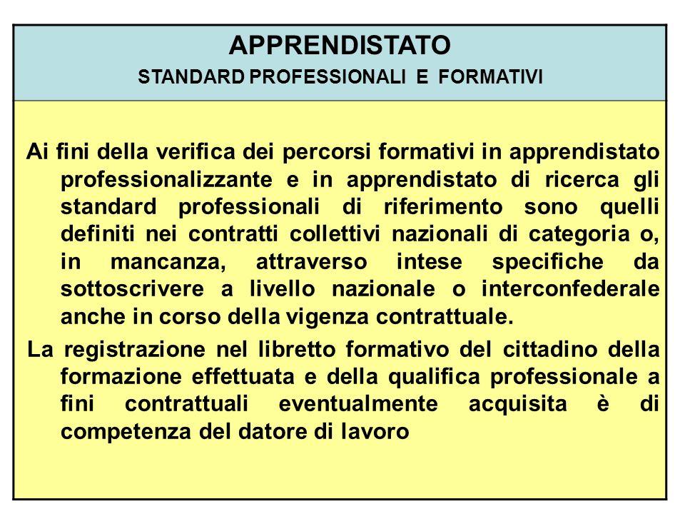 STANDARD PROFESSIONALI E FORMATIVI