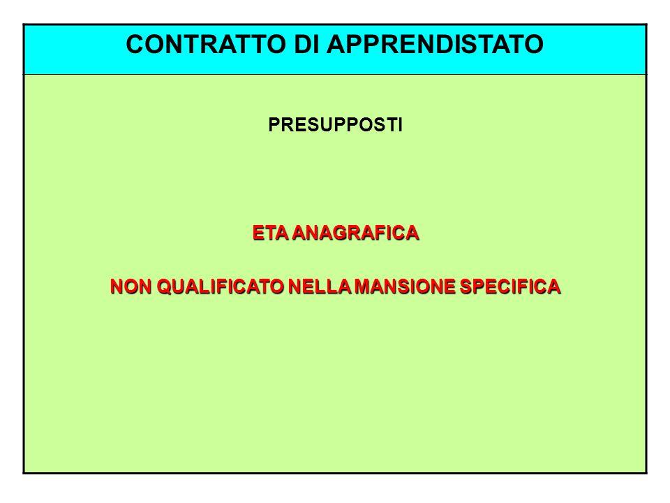 CONTRATTO DI APPRENDISTATO NON QUALIFICATO NELLA MANSIONE SPECIFICA