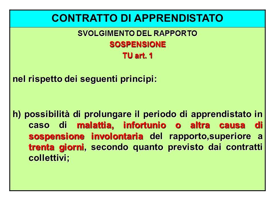 CONTRATTO DI APPRENDISTATO SVOLGIMENTO DEL RAPPORTO