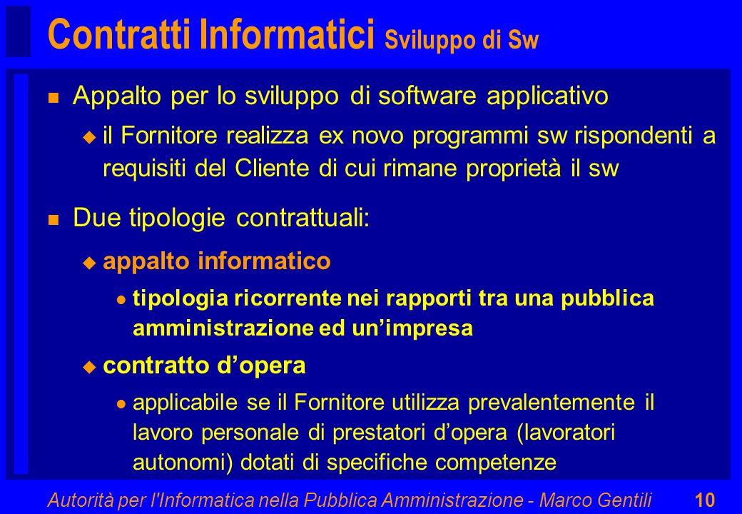 Contratti Informatici Sviluppo di Sw