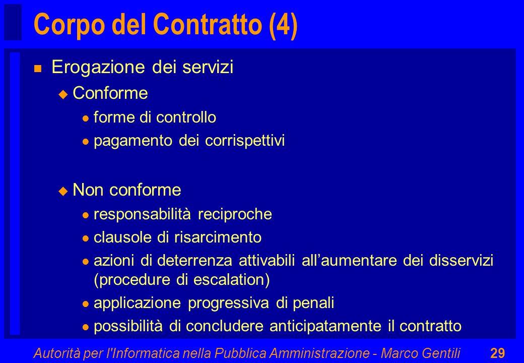Corpo del Contratto (4) Erogazione dei servizi Conforme Non conforme