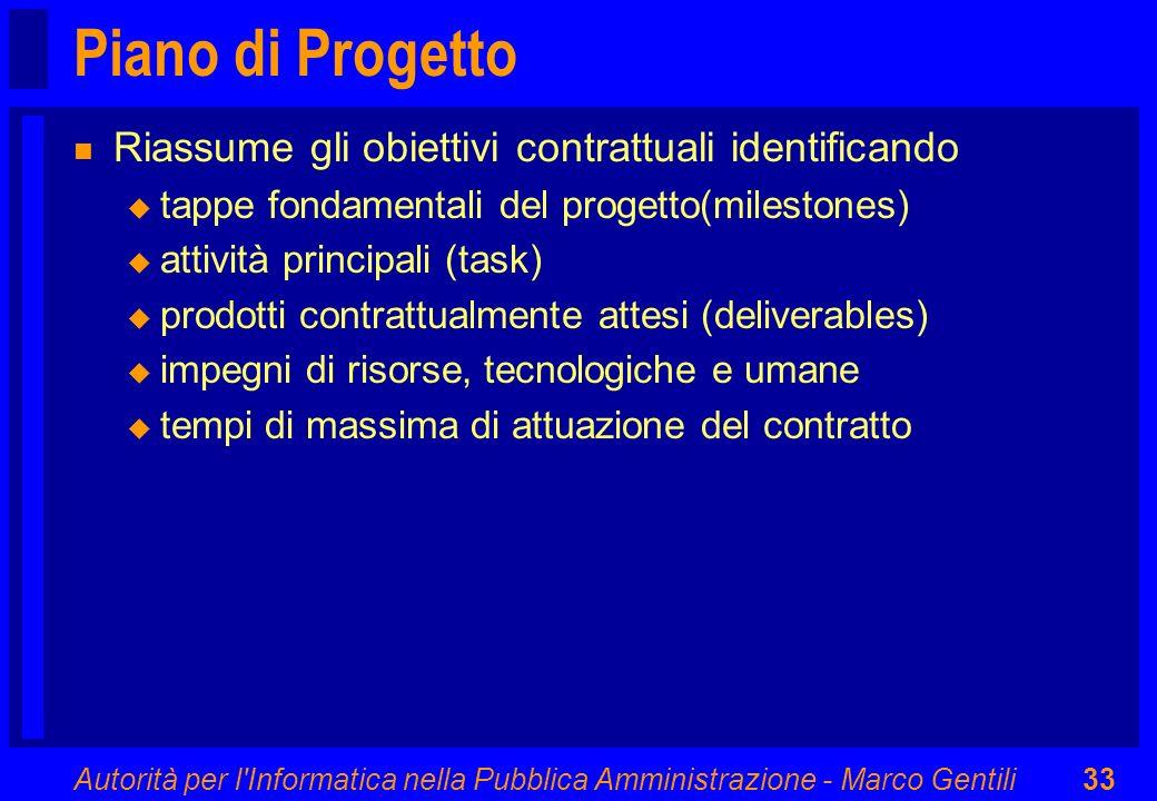 Piano di Progetto Riassume gli obiettivi contrattuali identificando