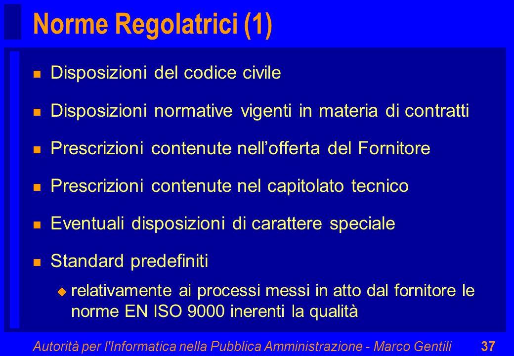 Norme Regolatrici (1) Disposizioni del codice civile