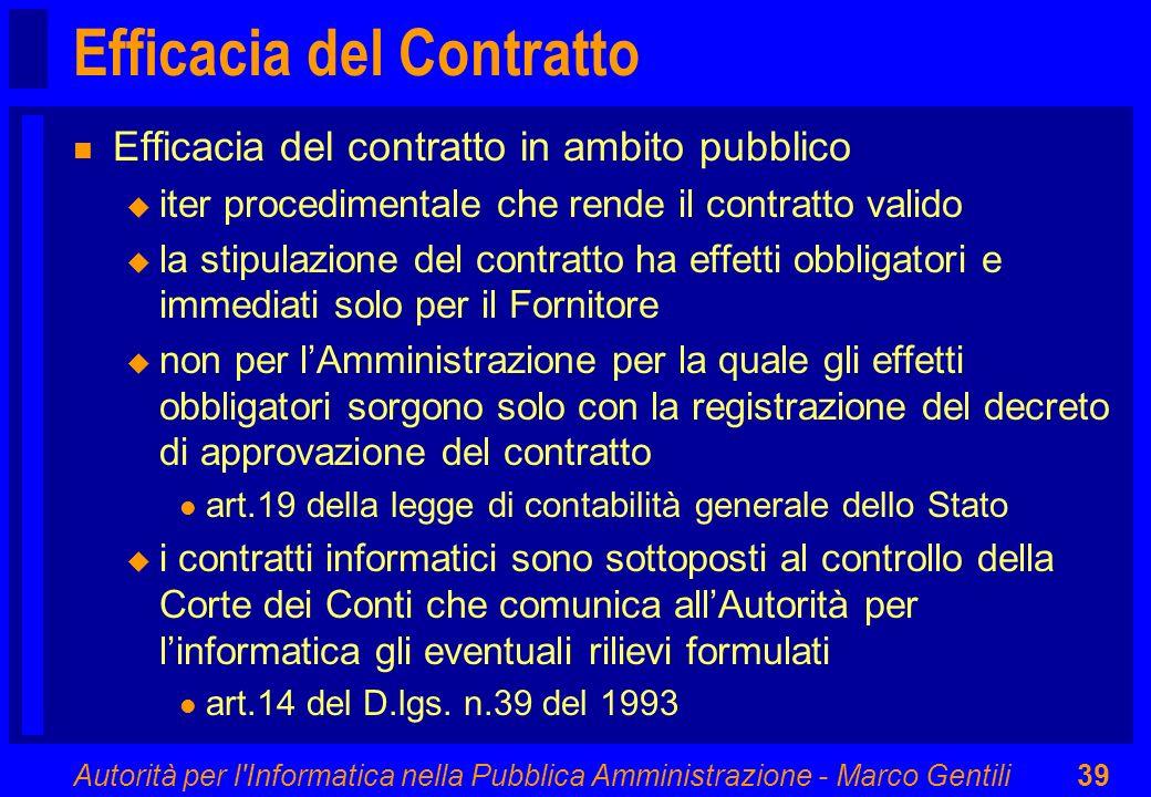 Efficacia del Contratto