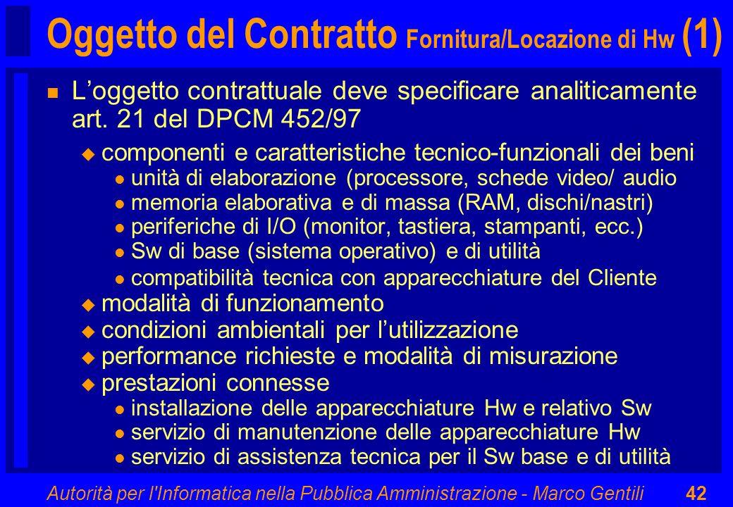 Oggetto del Contratto Fornitura/Locazione di Hw (1)