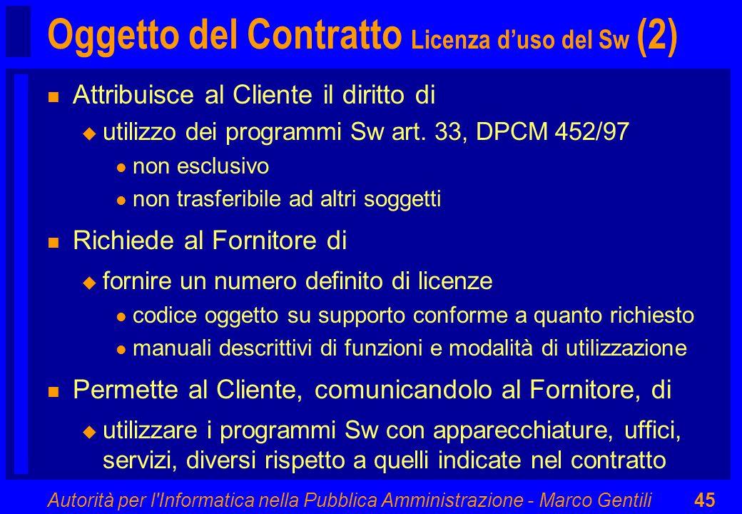 Oggetto del Contratto Licenza d'uso del Sw (2)