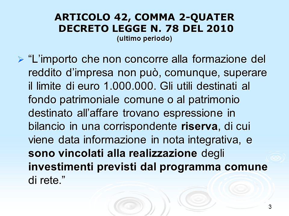 ARTICOLO 42, COMMA 2-QUATER DECRETO LEGGE N