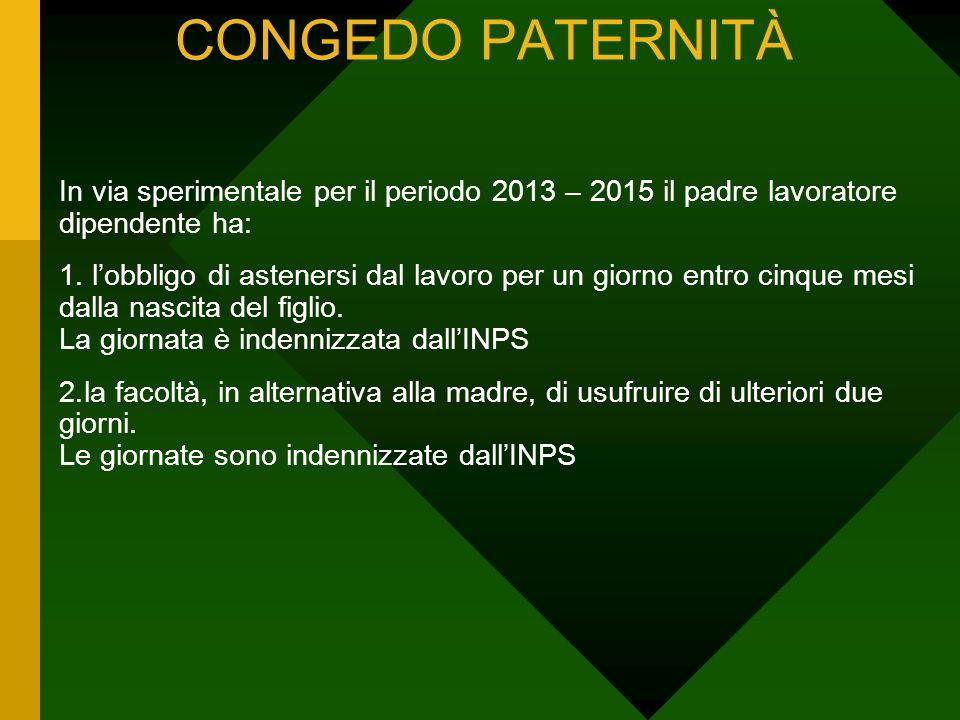 CONGEDO PATERNITÀ In via sperimentale per il periodo 2013 – 2015 il padre lavoratore dipendente ha: