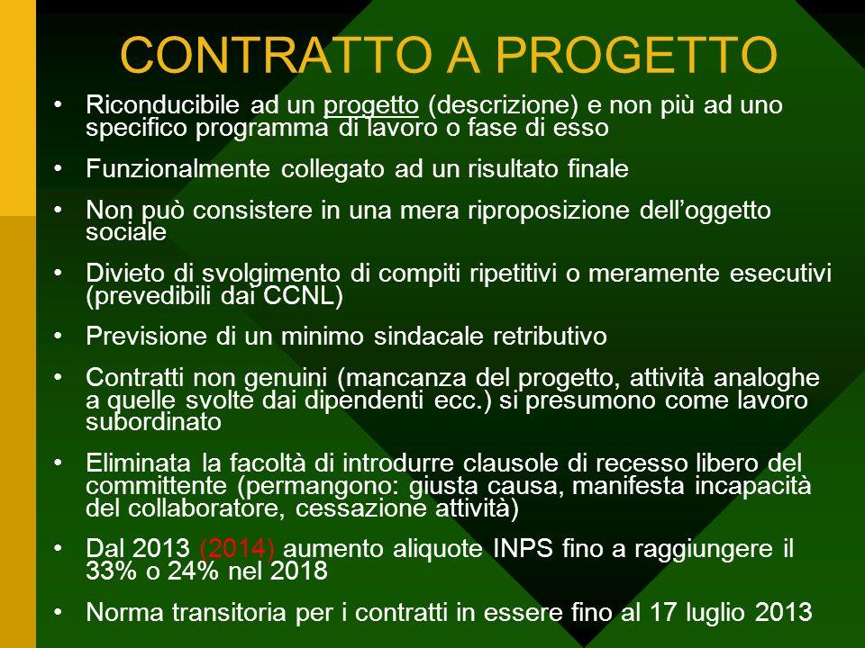 CONTRATTO A PROGETTO Riconducibile ad un progetto (descrizione) e non più ad uno specifico programma di lavoro o fase di esso.