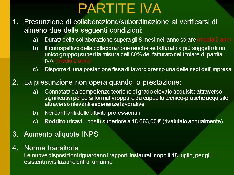 PARTITE IVA Presunzione di collaborazione/subordinazione al verificarsi di almeno due delle seguenti condizioni: