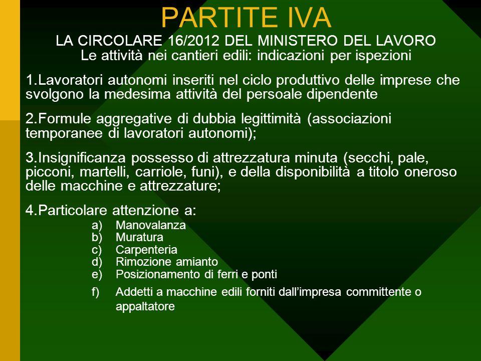 PARTITE IVA LA CIRCOLARE 16/2012 DEL MINISTERO DEL LAVORO Le attività nei cantieri edili: indicazioni per ispezioni.
