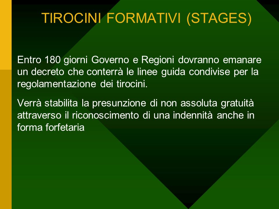 TIROCINI FORMATIVI (STAGES)