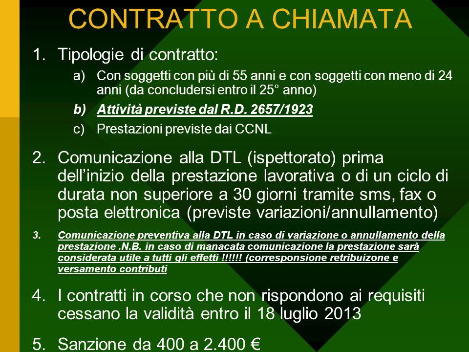 CONTRATTO A CHIAMATA Tipologie di contratto: