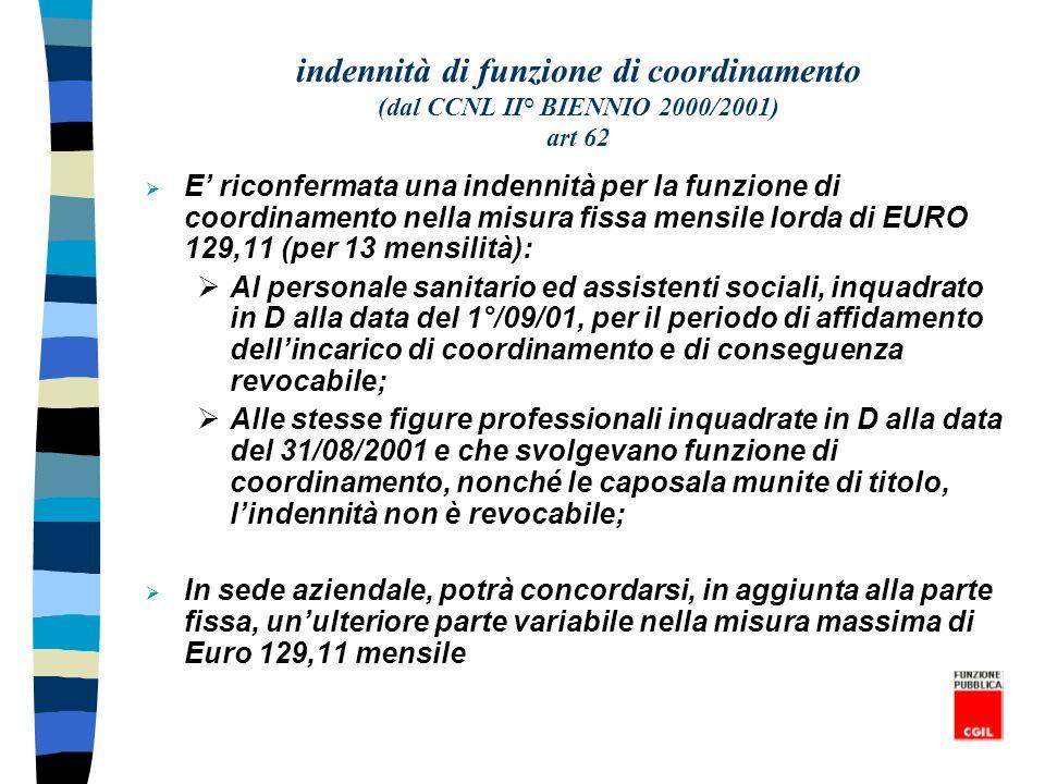 indennità di funzione di coordinamento (dal CCNL II° BIENNIO 2000/2001) art 62