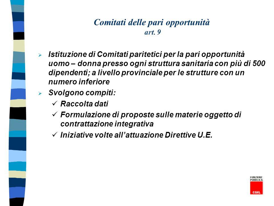 Comitati delle pari opportunità art. 9
